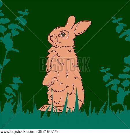 Cartoon Realistic Easter Bunnies. Cute Rabbit In The Flower Bushes Birthday Card For The Spring Holi