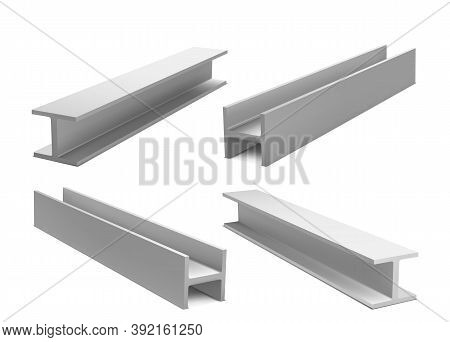Metal Construction Beams, Steel Structure Girders Isolated On White Background. Vector Realistic Set
