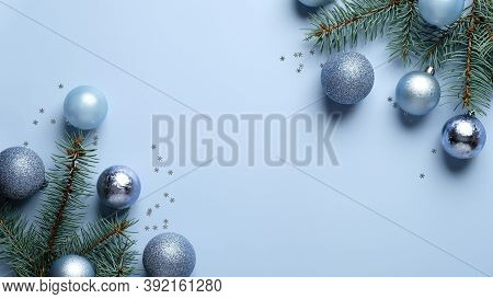 Happy Holidays Postcard Template. Christmas Tree Branches Decorated Blue And Silver Balls On Paste B