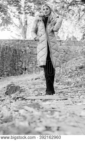 Oversized Jacket Trend. Puffer Jacket Casual And Comfortable Style. Woman Wear Warm Grey Jacket. Jac
