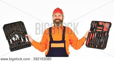 All You Need. Screwdrivers Set. Man Carries Toolbox White Background. Worker Repairman Handyman Carr
