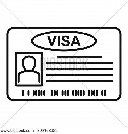 Visa Card Icon. Outline Visa Card Vector Icon For Web Design Isolated On White Background