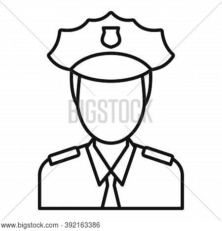 Airport Police Officer Icon. Outline Airport Police Officer Vector Icon For Web Design Isolated On W
