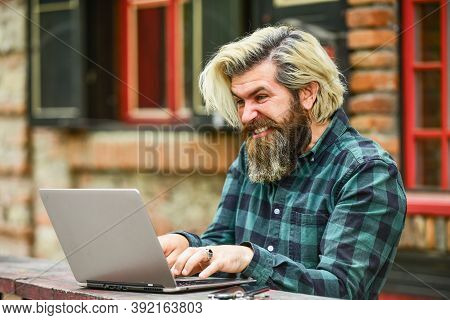 Online Business. Online Entrepreneur Working Outdoors. Man Busy Work With Laptop. Businessman Laptop