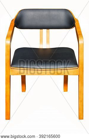 Wooden Chair With Leather Soft Black Seat Upholstery And Comfortable Supportive Backrest, Photograph