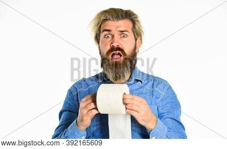 Creative Ideas. Toilet Paper Shortage In Coronavirus Panic. Fear Of Pandemic Outbreak Closing Shoppi