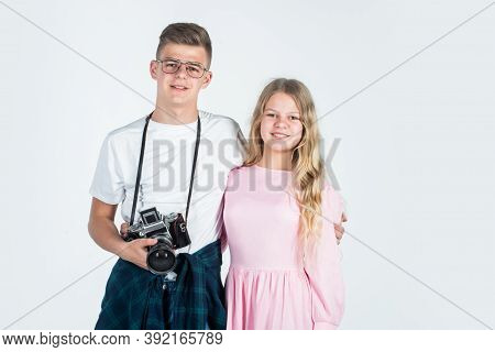 Vintage Camera Technology. Shooting With Professional Camera. Photographing Is Their Hobby. Teen Chi