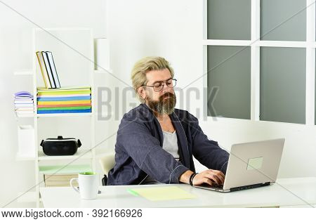 Unemployed Man Looking For Jobs Online. Create Resume. Job Interview. Vacancy. Unemployed Guy Surfin