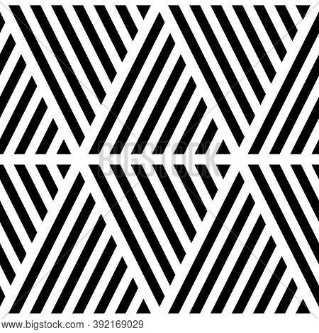 Black Diagonal Lines On White Background. Seamless Surface Pattern Design With Linear Ornament. Slan