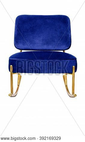 Soft, Comfortable Rocking Chair On A Metal Frame With Soft Blue Upholstery Sewn Around The Perimeter