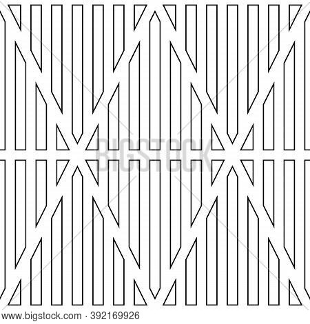 Black Vertical Lines Contours On White Background. Seamless Surface Pattern Design With Linear Ornam
