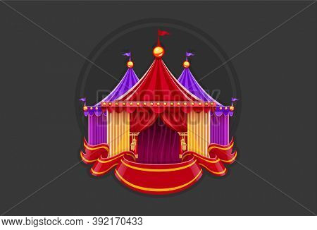 Entrance of circus marquee tents with red curtains, bulbs and flag. Red ribbon. Emblem sign on dark background. 3D illustration.