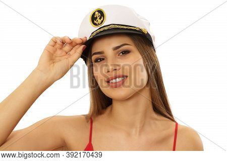 Close Up Studio Portrait Of A Gorgeous Sexy Pin Up Sailor Woman Looking To The Camera Seductively We