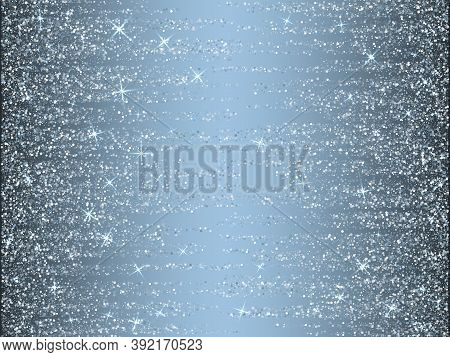 Silver Glitter Stars Shimmer Vector Holiday Background. Confetti Sparkles Shiny Texture. Metal Silve