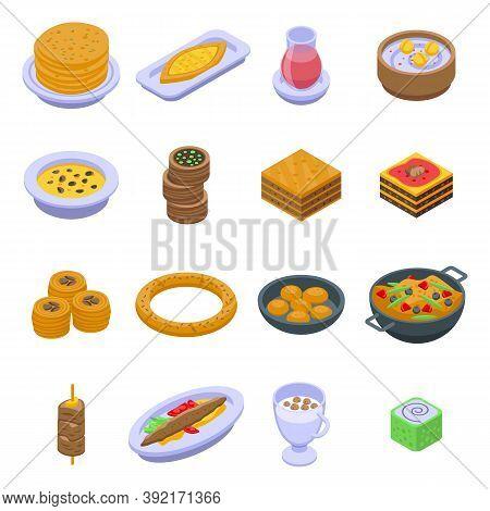 Turkish Food Icons Set. Isometric Set Of Turkish Food Vector Icons For Web Design Isolated On White