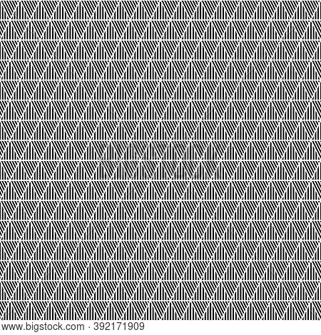 Black Diagonal And Vertical Lines On White Background. Seamless Surface Pattern Design With Linear O