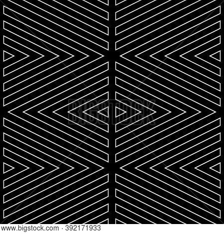 White Broken Lines Contours On Black Background. Seamless Surface Pattern Design With Linear Ornamen