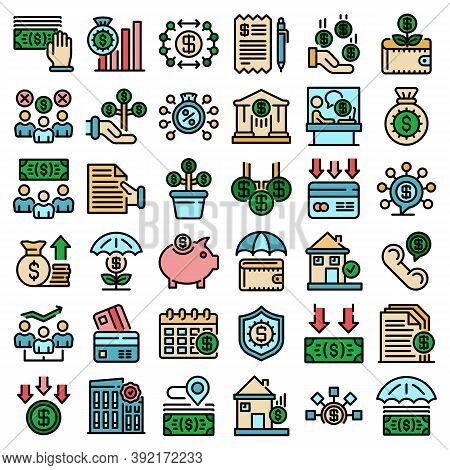 Subsidy Icons Set. Outline Set Of Subsidy Vector Icons Thin Line Color Flat On White