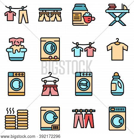 Tumble Dryer Icons Set. Outline Set Of Tumble Dryer Vector Icons Thin Line Color Flat On White