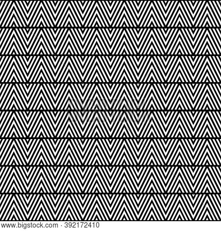 White Chevron Lines On Black Background. Zigzag Image. Seamless Surface Pattern Design With Linear O