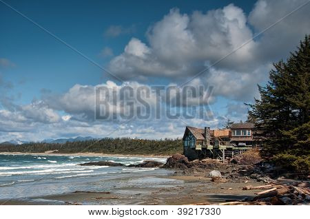 Building On Perched Along Sea Shore