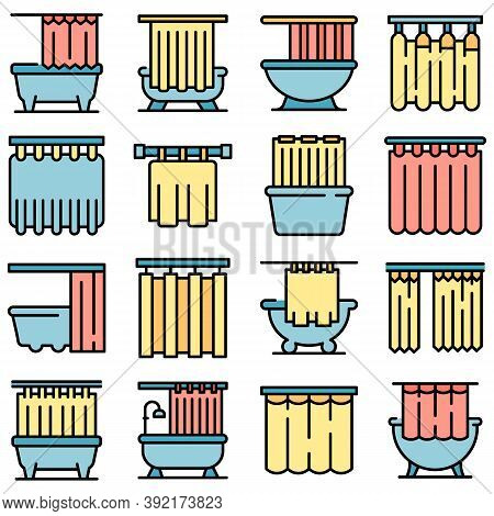 Shower Curtain Icons Set. Outline Set Of Shower Curtain Vector Icons Thin Line Color Flat On White
