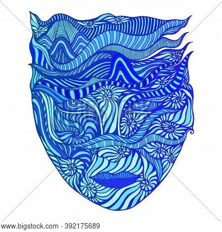 Surreal Abstract Goddess Of Water With Face In Ammonites And Of Crazy Patterns, Cyan, Dark Blue, Aqu