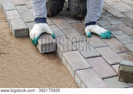 Man  Paving Stones In Layers On Sidewalk. Laying Gray Concrete Paving Slabs In Courtyard On Leveled