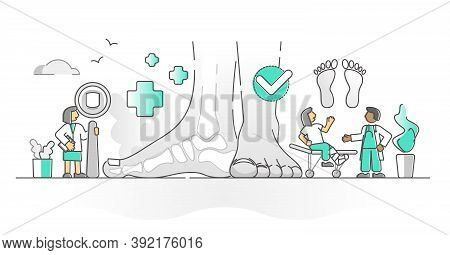 Podiatry Health Medicine With Feet And Ankle Doctor Monocolor Outline Concept. Extremity Limbs Patho