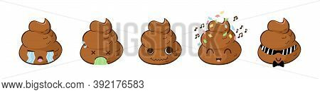 Funny Poop Emoji In Vector With Expressions: Crying, Vomiting, Crazy, Partying, Cool Guy. Kawaii Sti