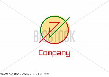 Number 7 Logo. Seven Logo With Check Mark Design Concept, Creative Circle Line Style.