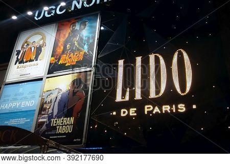 Lido De Paris Logo And Movies Posters On Famous Cabaret Facade On Champs Elysées In Paris, Moscow 16