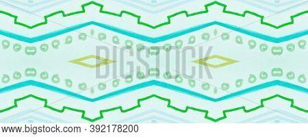 Seamless Tribal Background. Green Mexican Ethnic Pattern. Brush Paint Batik Motif. Geometric Bohemia