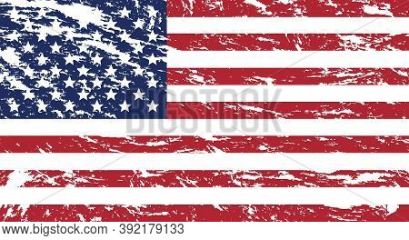 Usa Flag In Grunge Style.old Dirty American Flag. American Symbol. Icon For Website Or Mobile App