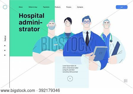 Medical Insurance Illustration -hospital Administrator -modern Flat Vector Concept Digital Illustrat