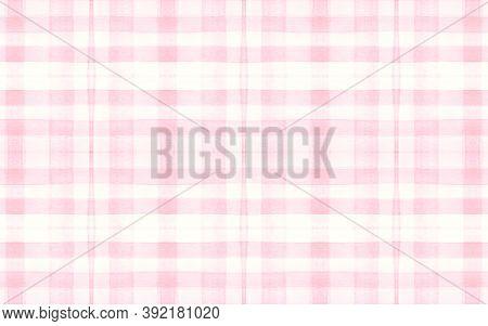 Pink Pajama Pattern. Irish Seamless Tartan Material. Watercolor Squares For Twill Print. Girl Pastel