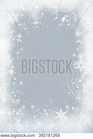 Snow Background. Grey Christmas Snowfall With Defocused Flakes. Winter Concept With Falling Snow. Ho
