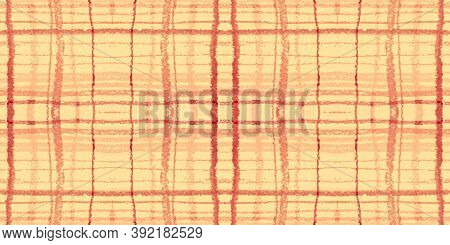 Red Tartan Pattern. Watercolor Picnic Textile. Retro Stripes For Shirt Design. Seamless Orange Tarta