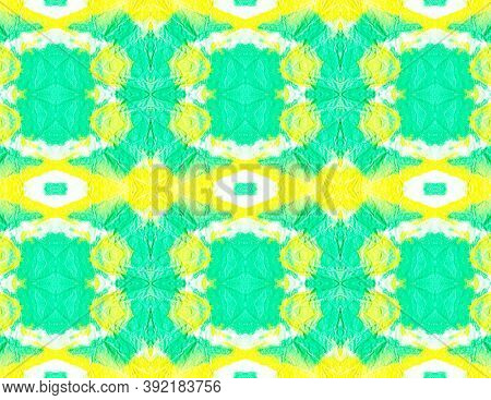Ethnic Water Color Pattern. Artistic Painted Repeated Background. Yellow, Green And White. Tie Dye B