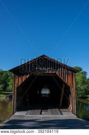 Looking Through Watson Mill Bridge On Blue Sky Day
