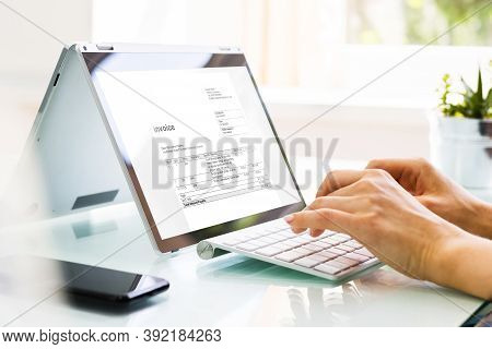 Online Digital E Invoice Statement On Tablet