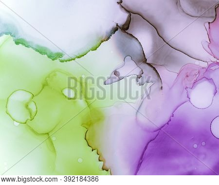 Ethereal Water Texture. Liquid Ink Wash Background. Mauve Abstract Spots Canvas. Contemporary Flow D