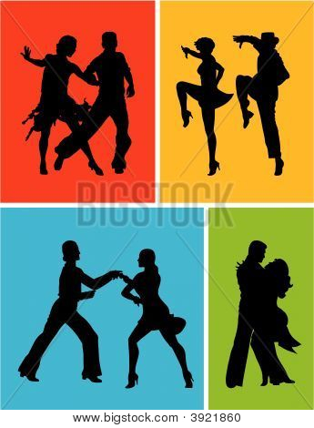 Abstract vector illustration of latin american dancers poster