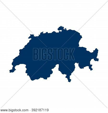 Outline Map Of Switzerland. Isolated Vector Illustration, Easy To Edit