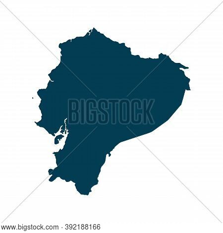 Outline Map Of Ecuador. Isolated Vector Illustration. Easy To Edit