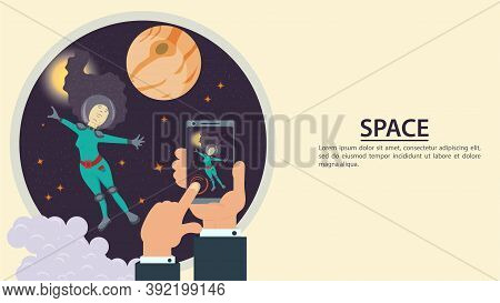 Hands Holding A Phone, Take A Picture Of A Girl In A Spacesuit In Outer Space, On The Background Of