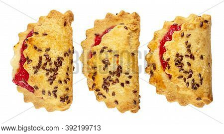 Three Shortbread Cookies With Raspberry Jam And Linseeds Isolated On White Background. Top View