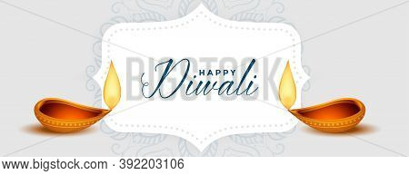 Happy Diwali Festival Diya Decorative Banner Design