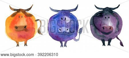 Funny Cute Bulls In Cartoon Style And In Watercolor Technique