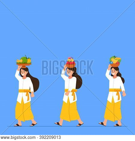 Balinese Girl On Hindu Ritual Parade To The Beach To Perform  Purification Ceremony. Suitable For Hi